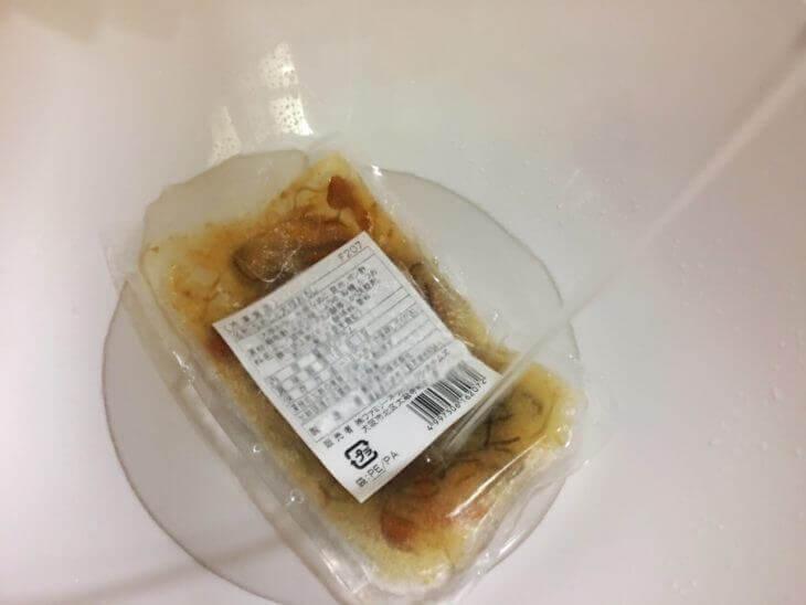 わんまいるの冷凍惣菜を流水で解凍