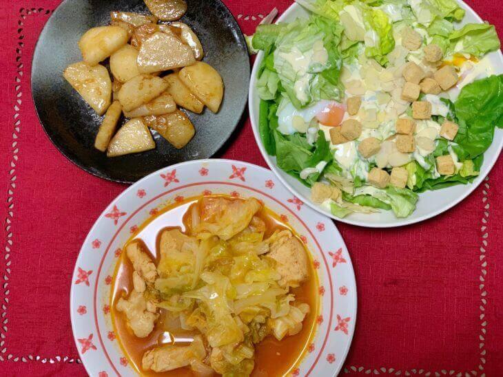 甘さ引き立つキャベツとチキンのトマト煮